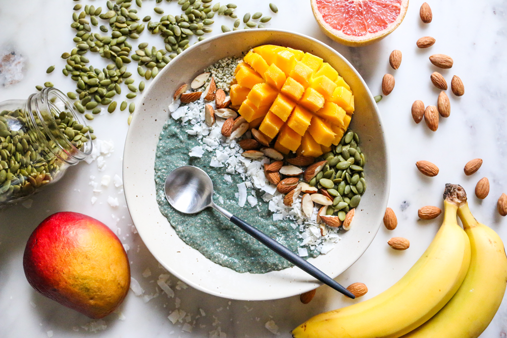 açai mango vegan chia smoothie bowl